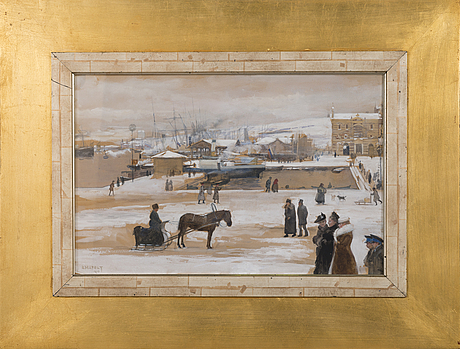 Albert edelfelt, winterday in helsinki market square.