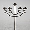 Bertil vallien, a wrought iron candelabrum from boda smide, 1960's/70's.
