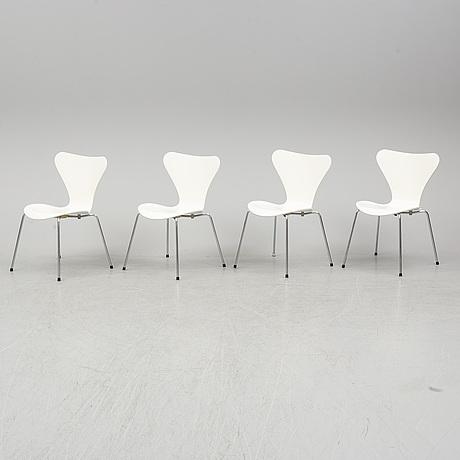 "A set of four arne jacobsen ""sjuan"" chairs."