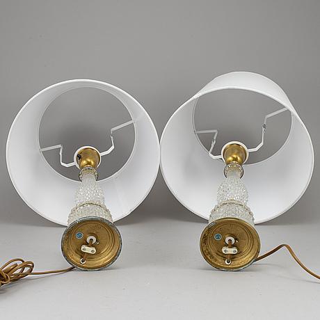 Einar bÄckstrÖm, bordslampor, ett par, mässing samt glas, 1900-talets mitt.