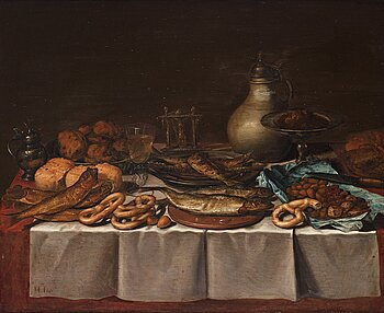 505. Pieter Claesz Circle of, Still life with fish, bread and jars.
