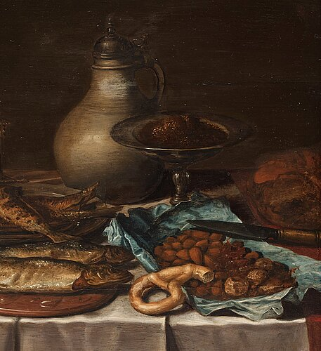 Pieter claesz circle of, still life with fish, bread and jars.
