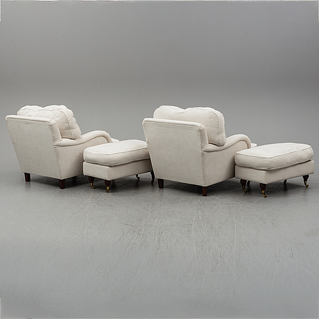 A pair of armchairs with stools, 2000's.