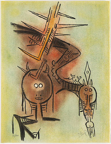 Wifredo lam, portfolio with 10 lithographs in colour, signed 123/262.