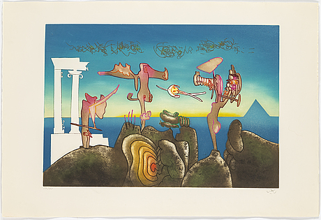 Roberto matta, portfolio with 10 etchings in colour, 1975, signed 59/125.