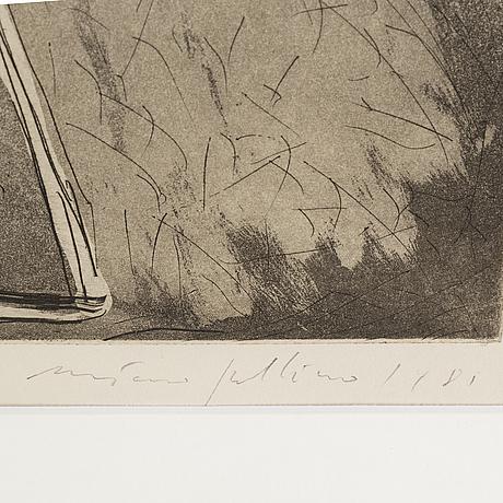 Mimmo paladino, etching and aquatint, 1981, signed 21/50.