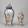 Two jars with covers, qing dynasty, qianlong (1736-95) and 19th century.