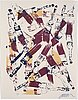 Fernandez arman, monotype, silkscreen on canvas, signed and dated 1992.