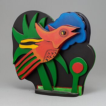 BEVERLOO CORNEILLE, sculpture, painted wood, signed, marked 55/150, dated 2000.
