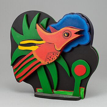 BEVERLOO CORNEILLE, sculpture, painted wood, signed, marked 23/150, dated 2000.