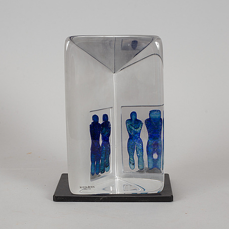 Bertil vallien, a glass sculpture, signed.