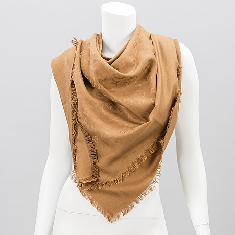 Louis vuitton, monogram silk and wool shawl.