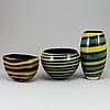 Hanna zetterberg, bowls and a vase, 3 parts, orrefors.