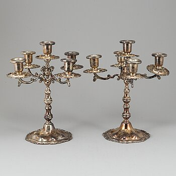 A pair of sterling candelabra, Marked Mexico. Rococo style.