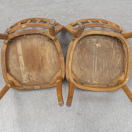 Six beech bent wood chairs from kocks, first half of the 20th century.
