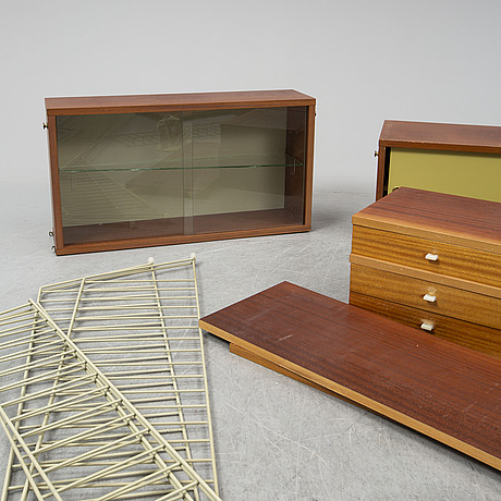 Nils & kajsa strinning, a 'string' mahogany veneered shelf system, 1962.