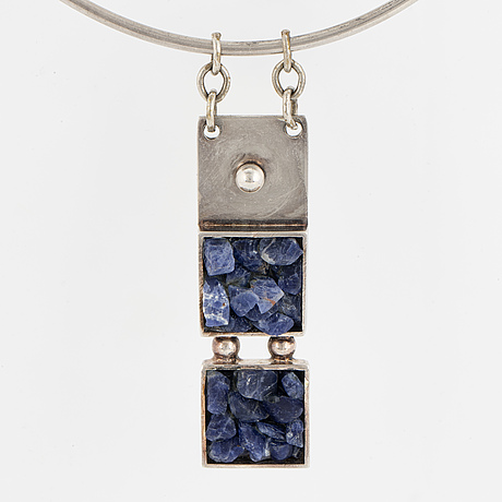 Necklace with pendant, d.s denmark, silver with sodalite.