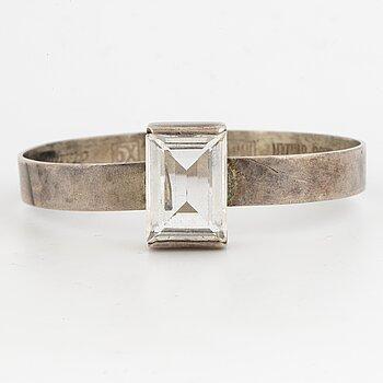 Bangle, sterling silver with faceted rock crystal. Åke Lindström for Bengt Hallberg.