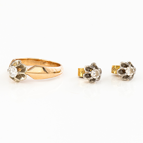 Ring och ÖrhÄngen, 14k guld, diamanter ca 0.64 ct tot. ryssland.