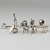 Gunnar cyrÉn, nine silver plated figurines, dansk design, japan.