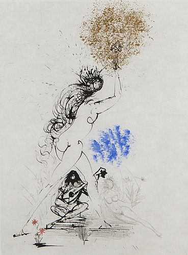 """""""la fille au flambeau"""" by salvador dali. etching, drypoint in color (hand-colored)/japan paper 43/50."""