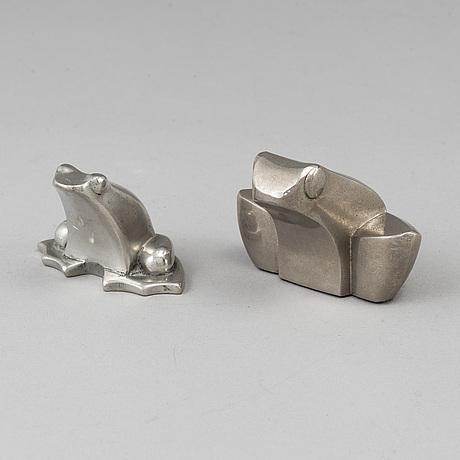 Gunnar cyrÉn, figuriner, 2 st, silverpläterad zink. bl.a. dansk designs, japan.