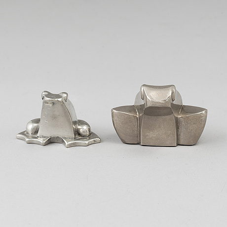 Gunnar cyrÉn, two silverplated figures, dansk designs, japan.