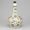 A famille rose canton vase turned into a table lamp, qing dynasty, late 19th century.