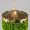 Hans-agne jakobsson, a brass and textile ceiling lamp, markaryd, second half of the 20th century.