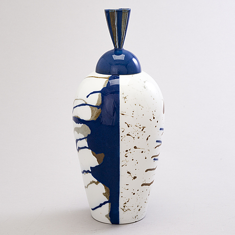 Inkeri leivo, a porcelain urn 'rising earth' signed inkeri leivo arabia.