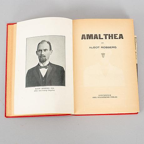 """Bok, """"amalthea"""", av algot rosberg. falköping, 1918, a. j. lindgrens boktryckeri."""