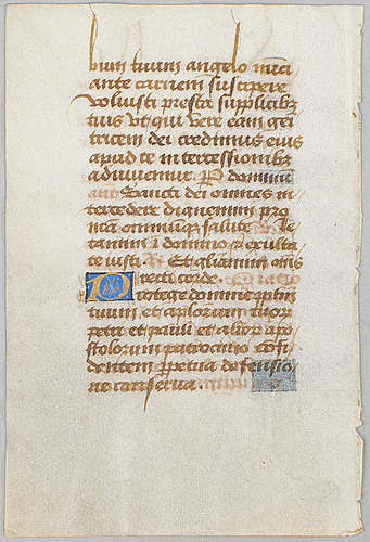Text page on vellum, maybe france late 15th century.