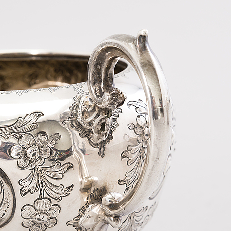 Roberts & hall, teservis, silver, sheffield, england 1850-52.