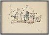 Madeleine pyk, tusch och akvarell, signerad och daterad 1975.