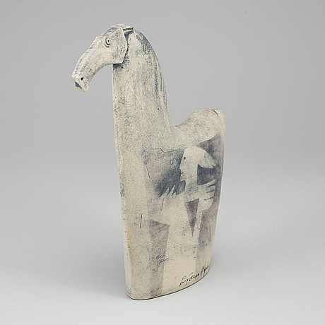 BjÖrn nyberg, a stoneware figurine, signed björn nyberg and dated 87.