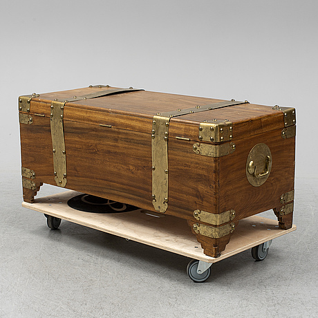 A chinese chest, signed with label shanghai carved furniture co.