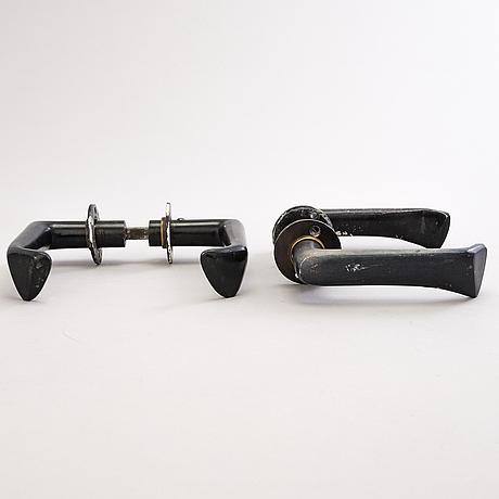 Alvar aalto,  two pairs of 1950s doorhandles  manufactured by kellokosken tehdas, finland.