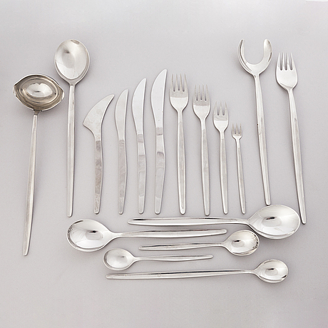Ilmari tapiovaara 1960s 122-piece set of polar flatware for hackman, finland.
