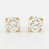 A pair of earrings, 18k gold, brilliant cut diamonds. weight c. 2.8 g.