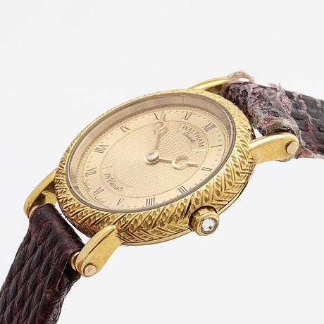 Armbandsur waltham   18k guld, 22mm, quartz, läderarmband.