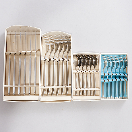 Kaj franck, a 24-piece set of scandia stainless steel flatware by sorsakoski / hackman.