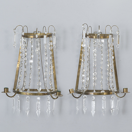 A pair of gustavian style wall chandeliers from the first half of 20th century.