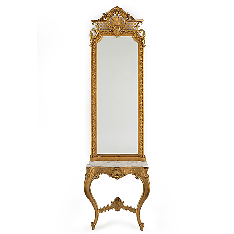 A mirror and console table, late 19th century.
