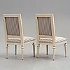 A pair of gustavian chairs by jakob malmsten (master in stockholm 1780-1788).