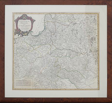 Map - robert de vaugondy, poland, hand colored copper engraving, paris 1752.