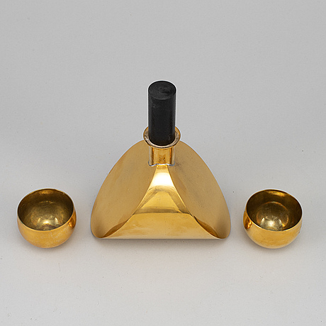 Pierre forsell, a brass bottle with two cups, skultuna.