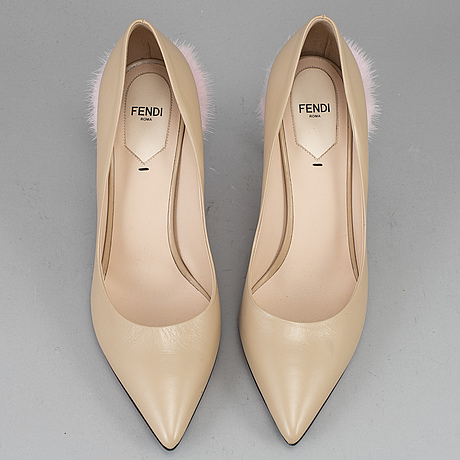 Fendi, a pair of leather hight heel shoes, size 40.