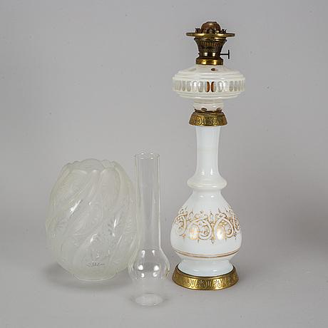 A paraffin lamp, marked ch. stobwasser berlin.