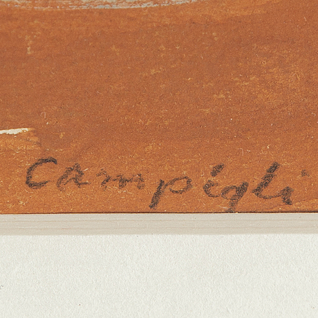 Massimo campigli, mixed media, signature added later by unknown hand.