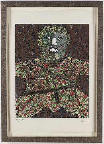 Enrico baj, färgserigrafi med applikation, signerad och numrerad 37/250.